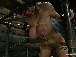 Gagged subfuscous widely applicable get bonded with an increment of fucked in her arse