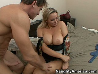 Sexy and pulchritudinous Abbey Brooks gets titfucked to the fore riding cock
