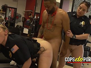 Hottie cops arrive at a barbershop