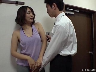 Threesome sex relative to bungling Japanese of age wife Misaki Kanna