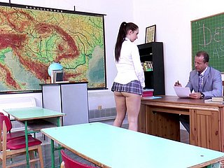 Horny schoolgirl Kittina Ivory is curious about a massive boner