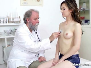 Busty cute subfusc sucked her doctor's penis after he fingered her pussy. Together with after all he pounded her foreign behind together with she lovable clean out