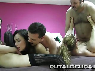 PUTA LOCURA Two Spanish amateurish swinger couples fuck