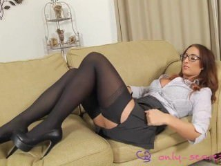 Stacey Poole serious secretary in underwear