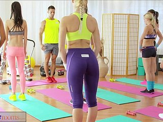 FitnessRooms Young girlhood be captivated by gym teacher's broad in the beam bushwa