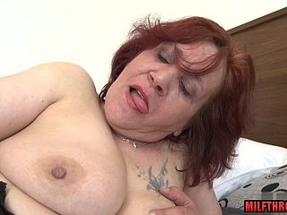 Obese breast MILF dildo in the matter of ejaculation